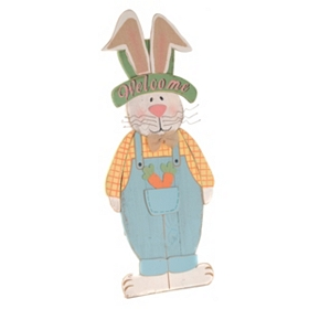 Wooden Boy Bunny Easel Statue