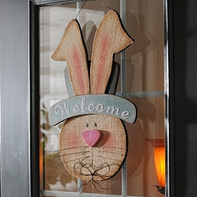Wooden Boy Bunny Welcome Plaque