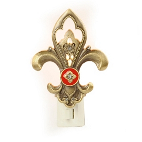 Bronze Fleur-de-lis Night Light with Medallion
