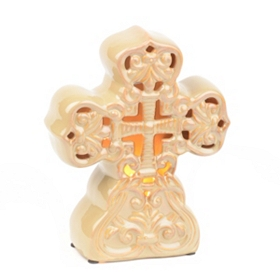 Amber Cross Tabletop Night Light