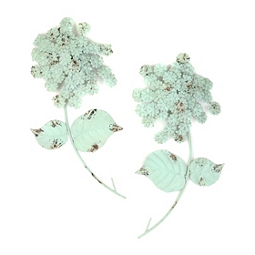 Mint Green Hydrangea Wall Plaque, Set of 2