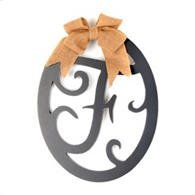 Wooden Monogram F Wall Plaque