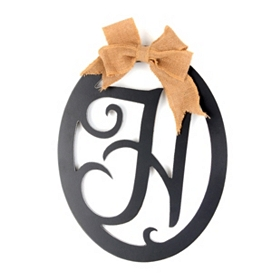 Wooden Monogram H Wall Plaque