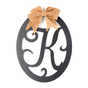 Wooden Monogram K Wall Plaque
