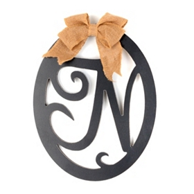 Wooden Monogram N Wall Plaque