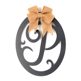Wooden Monogram P Wall Plaque