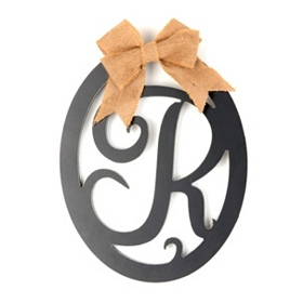 Wooden Monogram R Wall Plaque