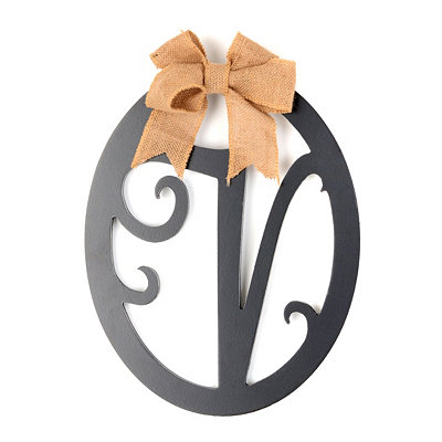 Wooden Monogram V Wall Plaque