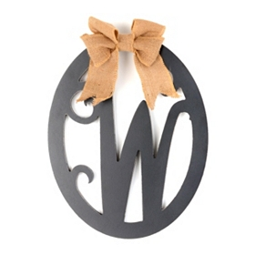 Wooden Monogram W Wall Plaque
