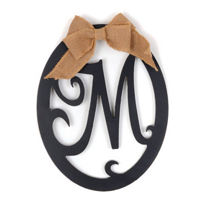 Wooden Monogram M Wall Plaque