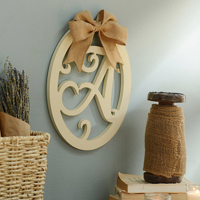 Cream Wooden Monogram A Wall Plaque