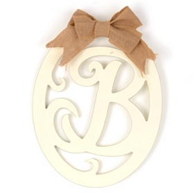 Cream Wooden Monogram B Wall Plaque