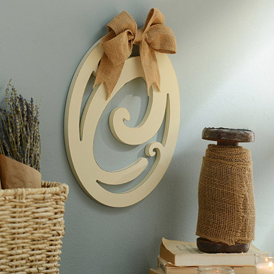 Cream Wooden Monogram C Wall Plaque