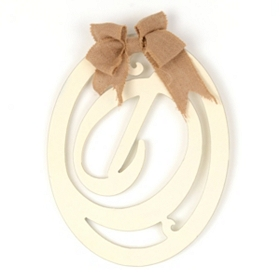 Cream Wooden Monogram D Wall Plaque