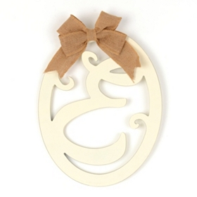 Cream Wooden Monogram E Wall Plaque
