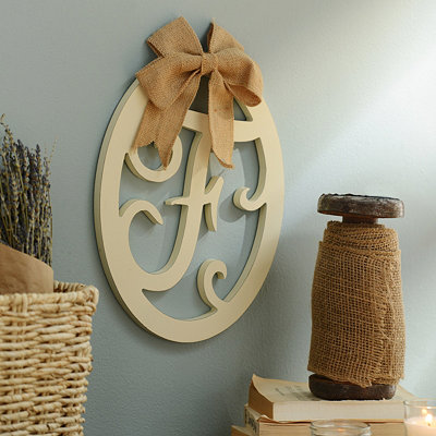 Cream Wooden Monogram F Wall Plaque