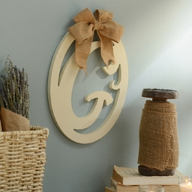 Cream Wooden Monogram G Wall Plaque