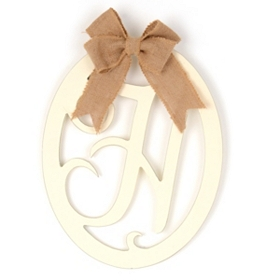 Cream Wooden Monogram H Wall Plaque
