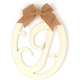 Cream Wooden Monogram J Wall Plaque