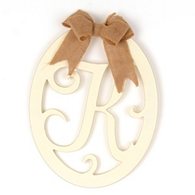 Cream Wooden Monogram K Wall Plaque