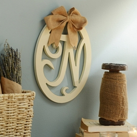 Cream Wooden Monogram N Wall Plaque