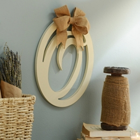 Cream Wooden Monogram O Wall Plaque