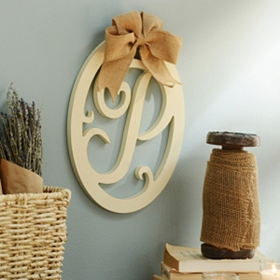Cream Wooden Monogram P Wall Plaque