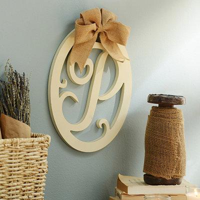 Cream Wooden Monogram P Wall Plaque