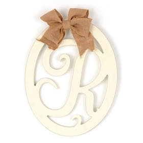 Cream Wooden Monogram R Wall Plaque