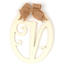 Cream Wooden Monogram V Wall Plaque