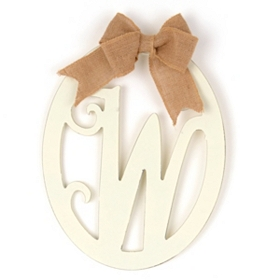 Cream Wooden Monogram W Wall Plaque