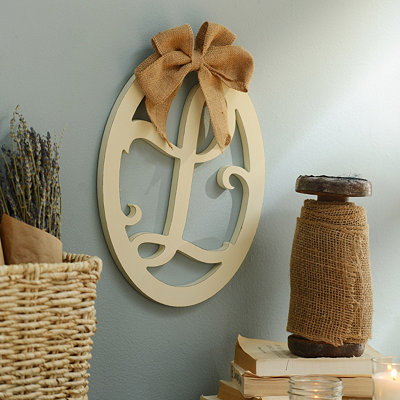 Cream Wooden Monogram L Wall Plaque