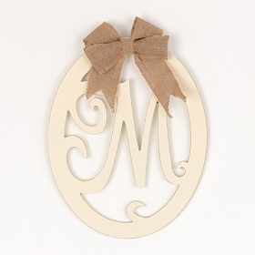 Cream Wooden Monogram M Wall Plaque