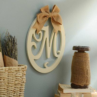 Cream Wooden Monogram M Wall Plaque