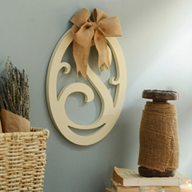Cream Wooden Monogram S Wall Plaque