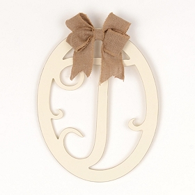 Cream Wooden Monogram T Wall Plaque