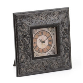 Distressed Black Tabletop Clock