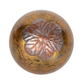 Bronze Metallic Glass Orb With Leaves