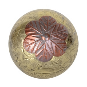 Gold Metallic Glass Orb With Leaves