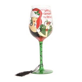 Mistletoe Tester Wine Glass