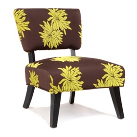 Antoinette Brown & Green Floral Slipper Chair
