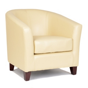 Hayden Ivory Bonded Leather Tub Chair