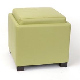 Venzia Green Bonded Leather Storage Ottoman