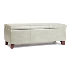 Luisa Gray Bonded Leather Storage Bench