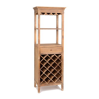 Verona Natural Wood Wine Rack Tower
