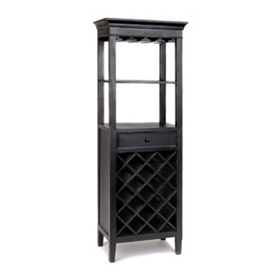 Verona Black Wine Rack Tower