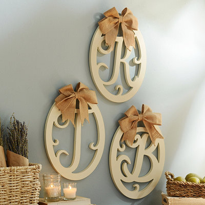 Cream Wooden Monogram Wall Plaque