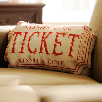 Red Movie Ticket Accent Pillow