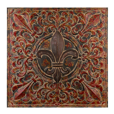 Distressed Fleur-de-Lis Metal Plaque
