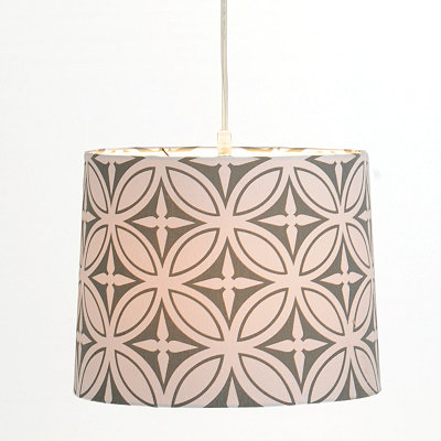 Gray and White Print Pendant Light